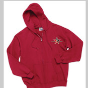 Red Hoodie W/Zipper Day Trading Rock Star Embroidery