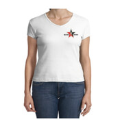 White V-Neck Day Trading Rock Star Embroidery