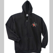 Black Hoodie W/Zipper Day Trading Rock Star Embroidery